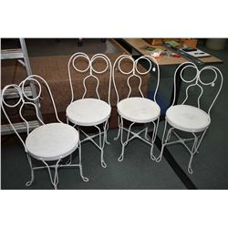 Four antique ice cream parlour chairs with oak seats painted white