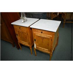 Pair of antique maple single drawer single door night tables with marble top