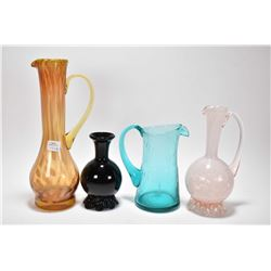 Four pieces of Altaglass including amethyst vase, a turquoise pitcher with paper label , white ewer