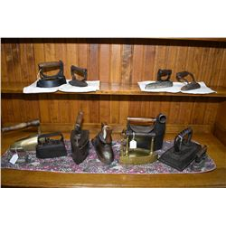 Selection of thirteen antique irons including The Brunswick Balke, Sensible #5, Guelph, Sensible #1,