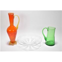 Three pieces of Altaglass including a colourless bowl with etched signature, a green mug with etched
