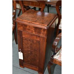 Interesting antique flip top washstand / commode with single door exposing single drawer and shelf 3