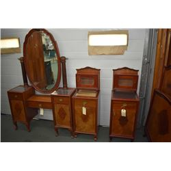 Antique drop vanity with sculpted beveled mirror and two matching night tables