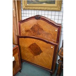 "Pair of antique 39"" wide headboard, footboard and rails with matched grain and inlay show wood to ma"