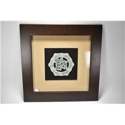 Shadowbox framed carved jade character with good luck symbols purportedly produced in Luoyang, the a