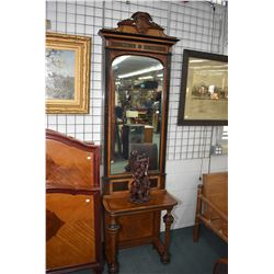 Antique Biedermeier console table with turned and beaded front supports and matching mirror with car