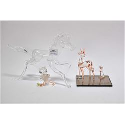 "Three pieces of Borosilicate Altaglass including a deer and gopher mounted on a mirror inscribed ""56"