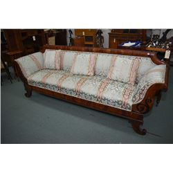 Full sized antique Regency sofa with matched grain mahogany show wood recently reupholstered include