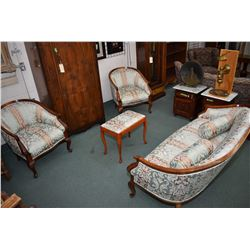 Antique three piece parlour set including settee and two armchairs recently reupholstered