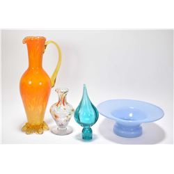 Four pieces of Altaglass including a small blue bowl, a hollow green bottle stopper, a small multico
