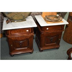 Pair of single door single drawer antique Belgium night tables with marble tops