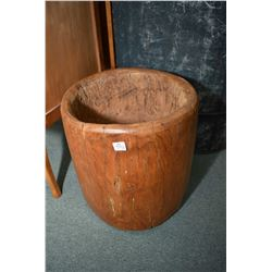 "Hollowed burl used as plant pot 14"" high"