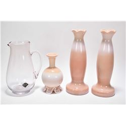 Four pieces of Altaglass including pair of peach milkglass vases, small peach milkglass vase and an
