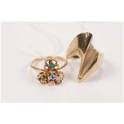 Two vintage rings including a mid century modern designed 14kt and 10kt with diamond and coloured st