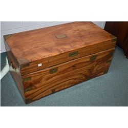 Antique wooden chest with fitted interior including removable tray, flip lid section and three door
