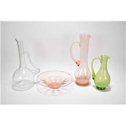Four pieces of Altaglass including clear pitcher, green pitcher with paper label, pink center bowl w