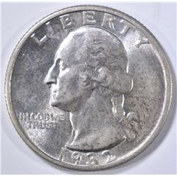 1932-S WASHINGTON QUARTER, CH AU