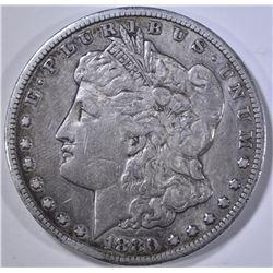 1880-CC MORGAN DOLLAR, XF rim bump