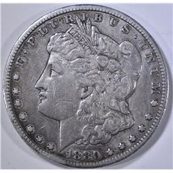 1880-CC MORGAN DOLLAR, XF rim bump
