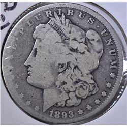 1893-CC MORGAN DOLLAR, GOOD