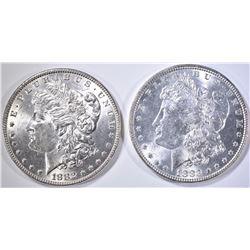 1882 & 1883 MORGAN DOLLARS, CH BU