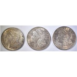 3-BU 1921 MORGAN DOLLARS