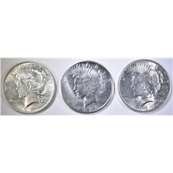 3 PEACE DOLLARS, 1922 BU, 23-S AU/BU, 24 AU/BU