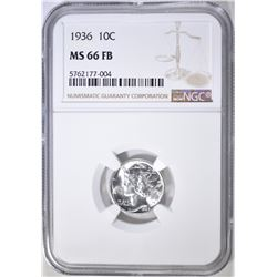 1936 MERCURY DIME, NGC MS-66 FB