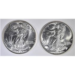 1942 & 43 WALKING LIBERTY HALF DOLLARS  GEM BU
