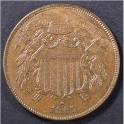 1867 2 CENT PIECE  CH BU  BN
