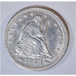 1853 ARROWS & RAYS SEATED LIBERTY QUARTER  AU