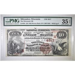 1882 $10 NATIONAL CURRENCY  PMG 35 EPQ