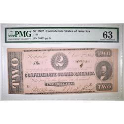 1862 $2 CONFEDERATE STATES OF AMERICA  PMG 63