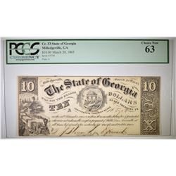 1865 $10 STATE OF GEORGIA  PCGS 63