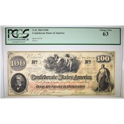 1862 $100 CONFEDERATE STATES OF AMERICA  PCGS 63