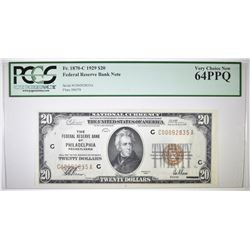 1929 $20 NATIONAL CURRENCY  PCGS 64PPQ