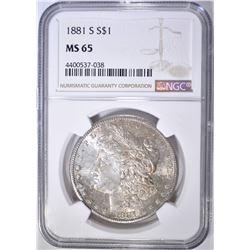 1881-S MORGAN DOLLAR  NGC MS-65