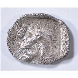 480-450 BC SILVER OBOL KYZIKOS GREEK HEAD OF LION