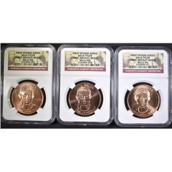 3-JULIA TYLER 1st SPOUSE MEDALS NGC MS-67 RED