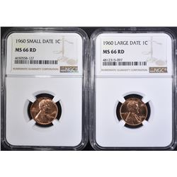 1960 SD & LD LINCOLN CENTS NGC MS-66 RED