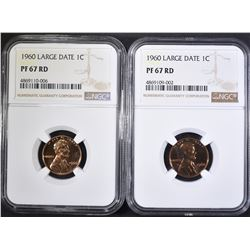 2-1960 LARGE DATE LINCOLN CENTS, NGC PF-67 RED