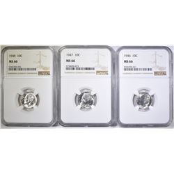 1946, 47 & 48 ROOSEVELT DIMES, NGC MS-66