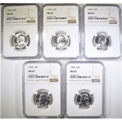 (5) 1964 WASHINGTON QTRS, NGC MS-65