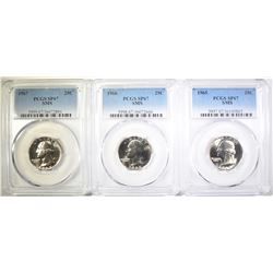 1965, 66 & 67 SMS WASHINGTON QUARTERS, PCGS SP-67