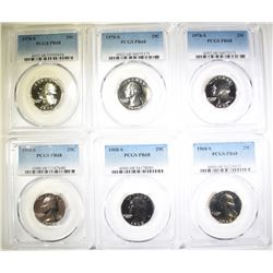 3-1968-S & 3-70-S WASHINGTON QUARTERS, PCGS PR-68