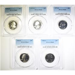 1968-S THRU 72-S WASHINGTON QUARTERS, PCGS PR-68