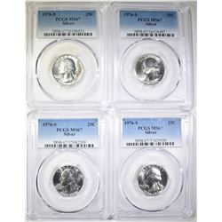4-1976-S SILVER WASH. QUARTERS, PCGS MS-67