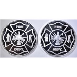 2-FIRE DEPT ONE OUNCE .999 SILVER ROUNDS
