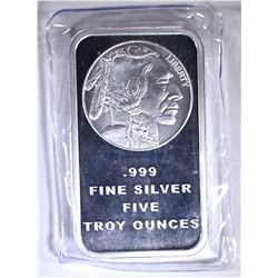 "FIVE OUNCE .999 SILVER BAR ""INDIAN/BUFFALO"""