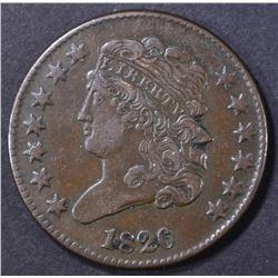 1826 HALF CENT  XF/AU
